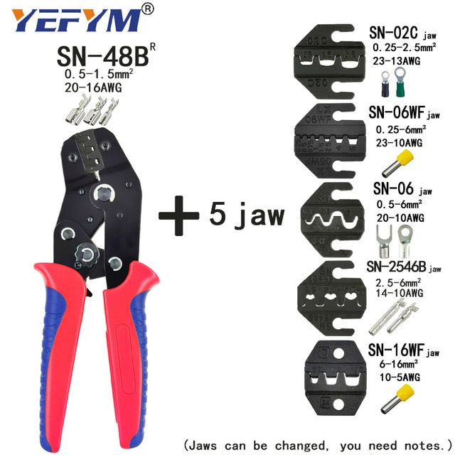 Crimping Pliers Set SN-48BS(=SN-48B+SN-28B) Jaw Kit for 2.8 4.8 6.3 VH3.96/Tube/Insulation Terminals Electrical Clamp Min Tools