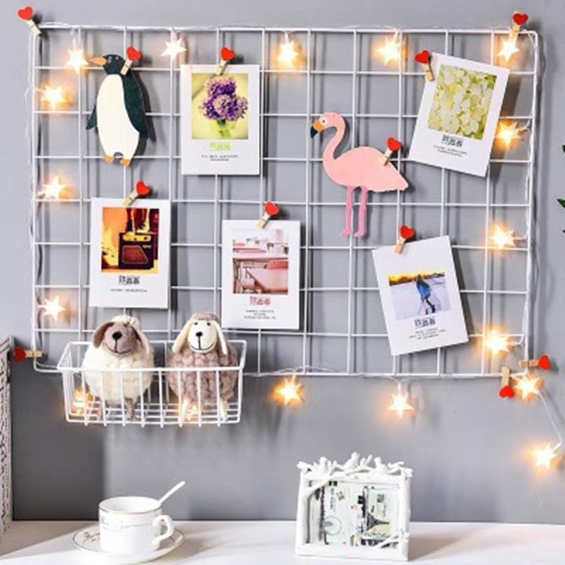 Ins Nordic Home Wall Decoration Iron Grid Decor Photo Frame Postcards DIY Wall Art Display Storage Rack Holder Shelf Organizer