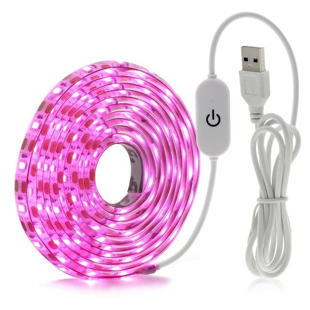 LED Grow Light Full Spectrum USB Grow Light Strip 0.5m 1m 2m 3m 2835 SMD DC5V LED Phyto Tape for Seed Plants Flowers Greenhouses
