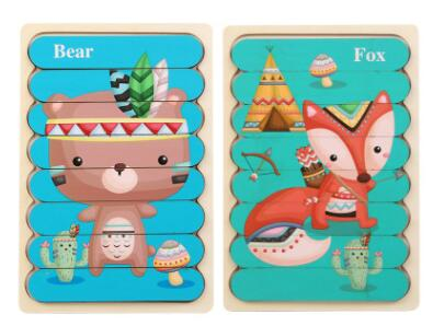 Double Sided Strip 3D Puzzles Baby Toy Wooden Montessori Materials Educational Toys For Children Large Bricks Kids Learning Toys