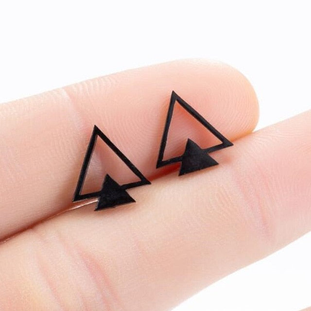 SMJEL Stainless Steel Earrings Geometric Women Men Hip hop Black Star Moon Stud Earring Fashion Jewelry Best Gift for Friend