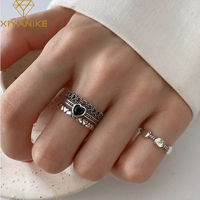 XIYANIKE 925 Sterling Silver Width Rings for Women Couples Vintage Trendy LOVE Heart Multilayer Thai Silver Jewelry Party Gifts