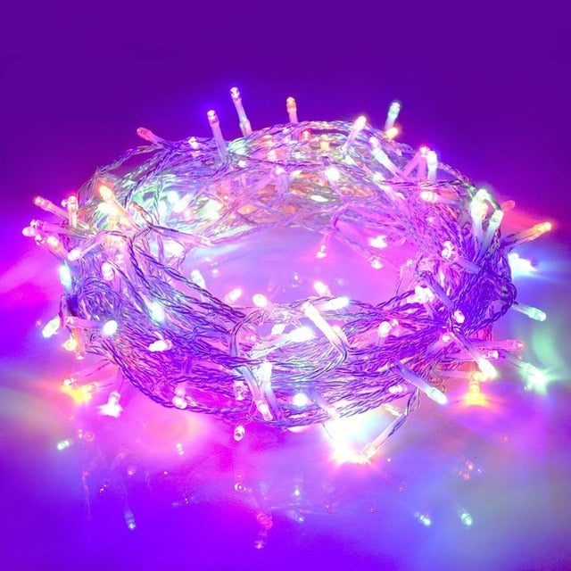 Strings Light Outdoor Waterproof 220V 10M 20M 50M Christmas Day Party Fairy Tale Colorful Christmas Decoration Lights