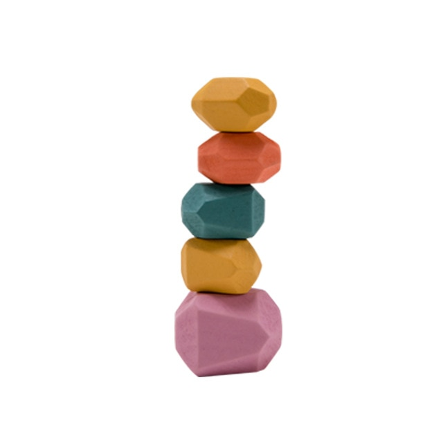 Baby Toy Wooden Jenga Building Block Colored Stone Creative Educational Toys Nordic Style Stacking Game Rainbow Stone Wooden Toy