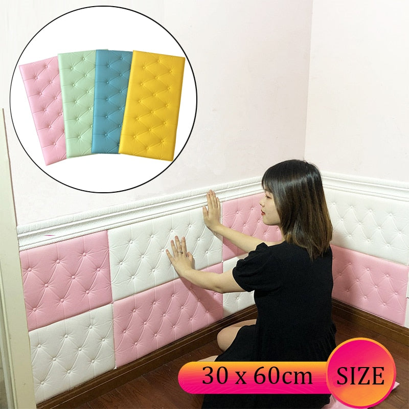 3D Wall Stickers Wallpaper Self-adhesive Thicken Tatami Anti-collision Wall Mat Pad Kids Bedroom Living Room Soft Foam Cushion