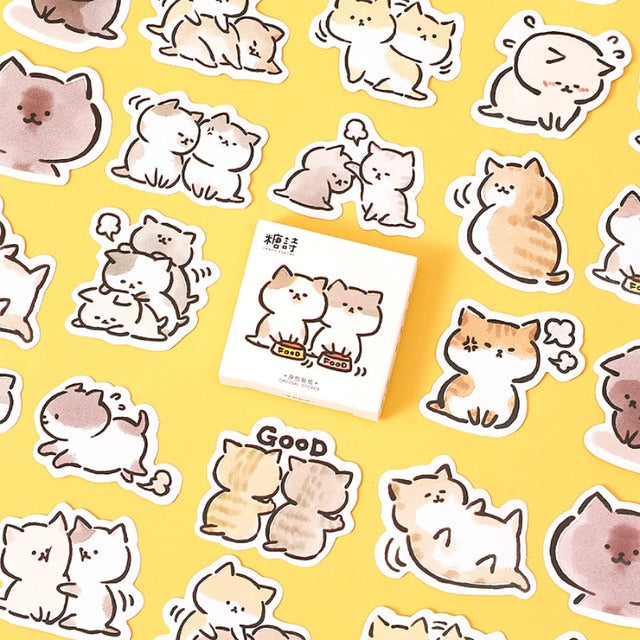 Cute cat Label Kawaii Diary Handmade Adhesive Paper Flake Japan Vintage box mini Sticker Scrapbooking  Stationery