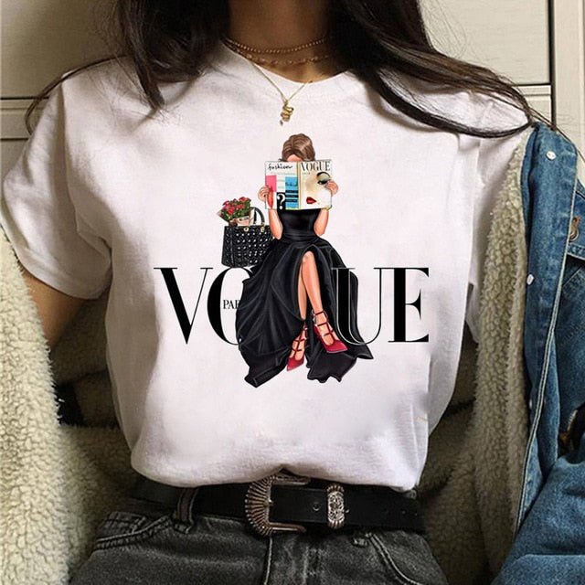 Fashion Summer Tops T Shirt Women Tshirt New Vogue Tshirt  Graphic Tee Cute Women T-shirt Female Tee Shirt  90s Girls Tee Tshirt