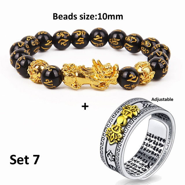 Unisex Men Pixiu Charms Ring Bracelet Chinese Feng Shui Amulet Wealth and Lucky Open Adjustable Ring Bead Bracelet
