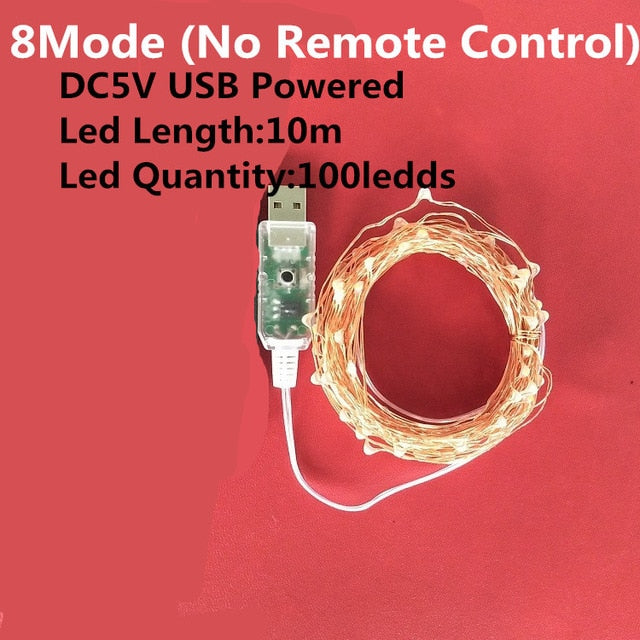 Led String Light 5/10M/20M 50/100/200LED USB 8Mode Remote Control Lights Fairy garlands  Wedding Christmas Holiday Decor lamps