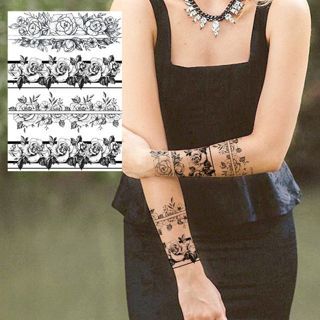 Sexy Flower Temporary Tattoos For Women Body Art Painting Arm Legs Tattoos Sticker Realistic Fake Black Rose Waterproof Tattoos