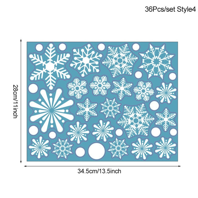 36pcs/lot White Snowflake Christmas Wall Stickers Glass Window Sticker Christmas Decorations for Home New Year Gift Navidad 2020