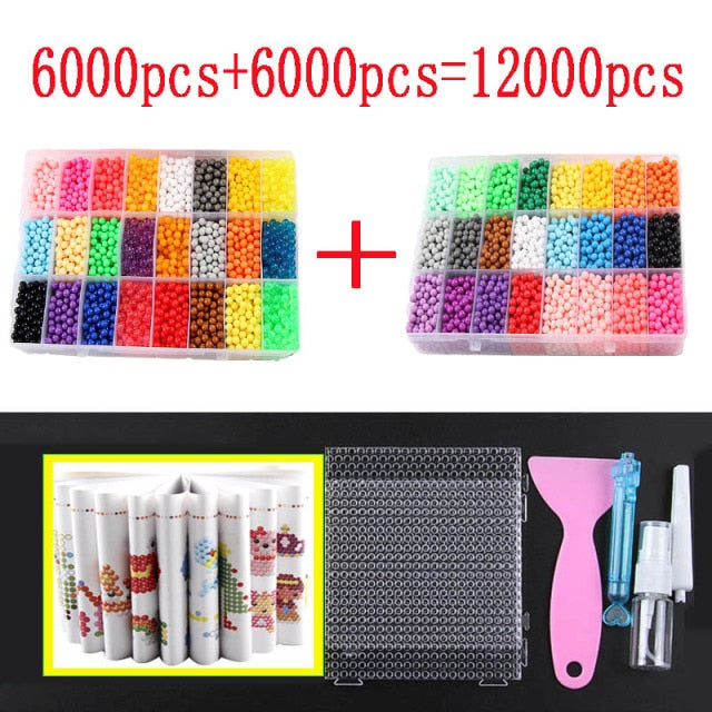 12000pcs 30 colors Refill Beads Puzzle Crystal DIY Water Spray Beads Set Ball Games 3D Handmade Magic Toys For Children