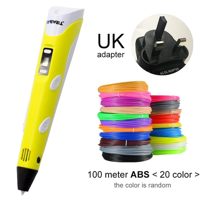 Myriwell 3D Pen DIY 3D Printer Pen Drawing Pens 3d Printing Best for Kids With ABS Filament 1.75mm Christmas Birthday Gift