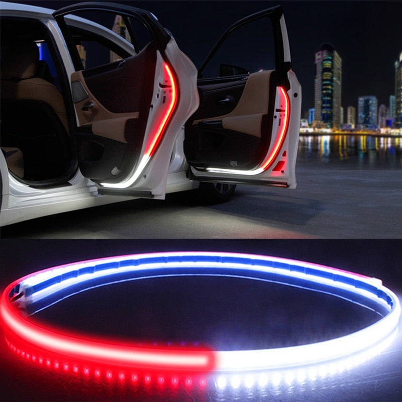 Car Interior Door Welcome Light LED Safety Warning Strobe Signal Lamp Strip 120cm Waterproof 12V Auto Decorative Ambient Lights