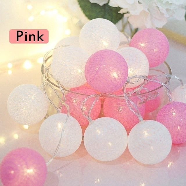 20 LED Cotton Ball String Lights Battery Operated Colorful Garland Fairy Lights for Home Wedding Christmas Party Outdoor Decors