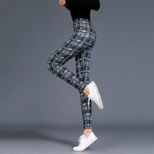 Women Leggings Grid Print Exercise Fitness Leggins Elasticity Plaid Push Up Legging Female Sexy Trousers Plus Size Pants