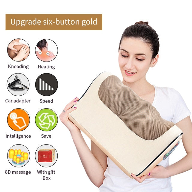 Jinkairui Infrared Heating Neck Shoulder Back Body Electric Massage Pillow Shiatsu Device Cervical Health Massageador Relaxation