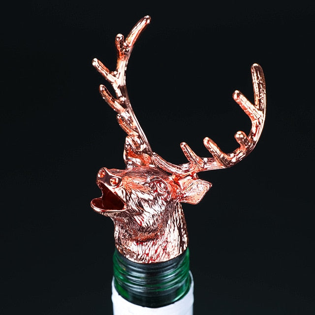2 Styles of Deer Head Wine Mouth Deer Head Wine Guide Pour Wine Stopper Zinc Alloy Wine Stopper Bartender Tool Wine Accessories