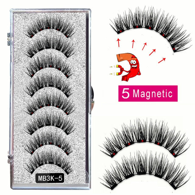 MB3K 5 magnetic eyelashes natural with 3D magnet handmade 8PCS magnetic lashes Tweezer Set Mink eye lashes faux cils magnetiqu