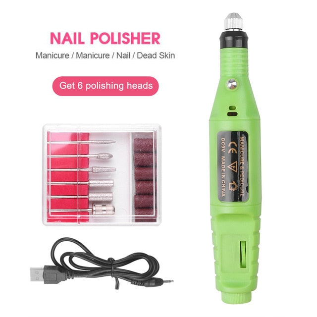 Professional Electric Nail Drill Machine Nail Files Pen Pedicure 6 Bits MillingUV LED Gel Polish Remover Nail Art Manicure Tool