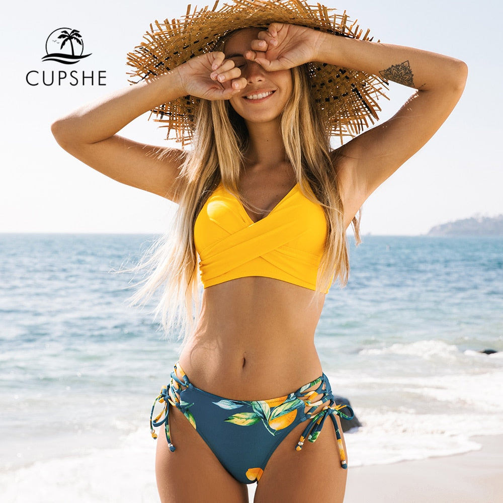 CUPSHE Yellow And Lemon Print Mid-Waist Bikini Sets Swimsuit Women Sexy Lace Up Two Pieces Swimwear 2021 New Beach Bathing Suits