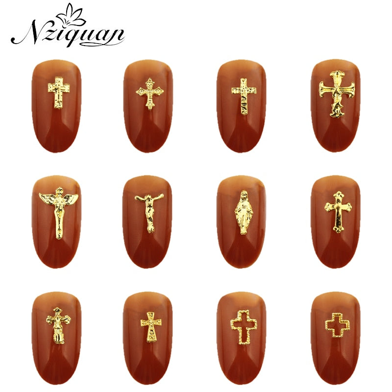 20pcs charms Jesus Manicure Gold Alloy Rhinestones cross For Nails Strass Charms manicure accessoires 3D Nail Art Decorations