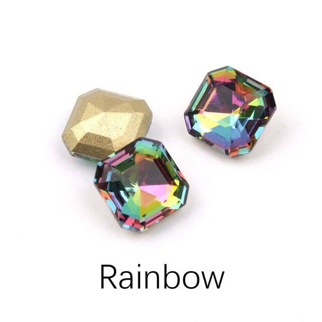 30/100pcs Mix Color Nail Art Rhinestones Square Octagon Crystal Shiny 3D Strass Gem Stone Manicure Decoration Charms Jewelry