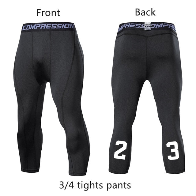 Men's Compression Pants Male Tights Leggings for Running Gym Sport Fitness Quick Dry Fit Joggings Workout White Black Trousers