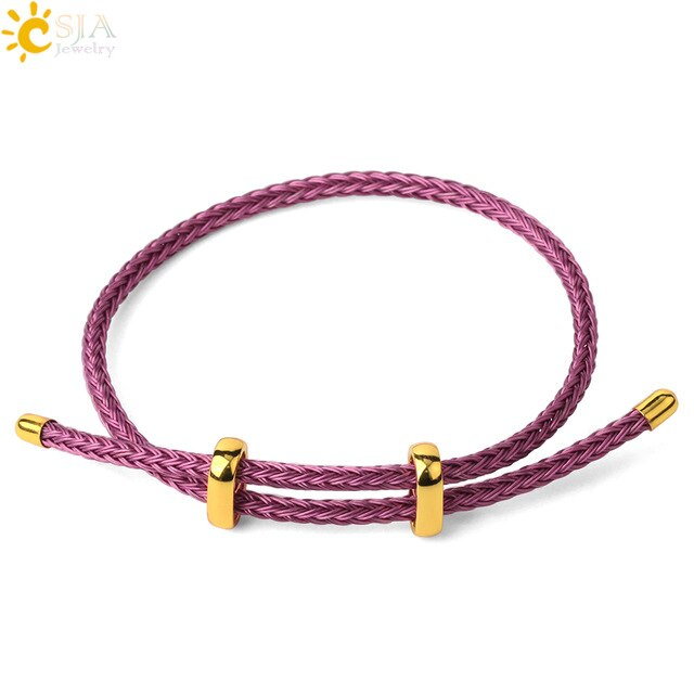 CSJA Red Thread String Bracelets on Hand Lucky Bracelet Femme 2020 Braided Rope Stainless Steel Adjustable Jewelry Bijoux G434