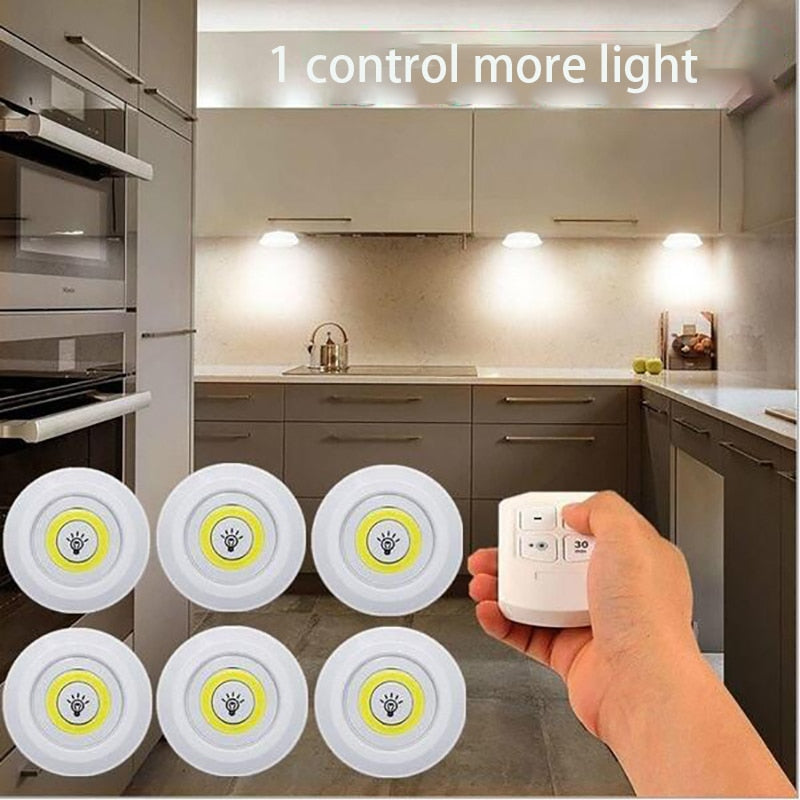 3W Super Bright Cob Under Cabinet Light LED Wireless Remote Control Dimmable Wardrobe Night Lamp Home Bedroom Closet Kitchen