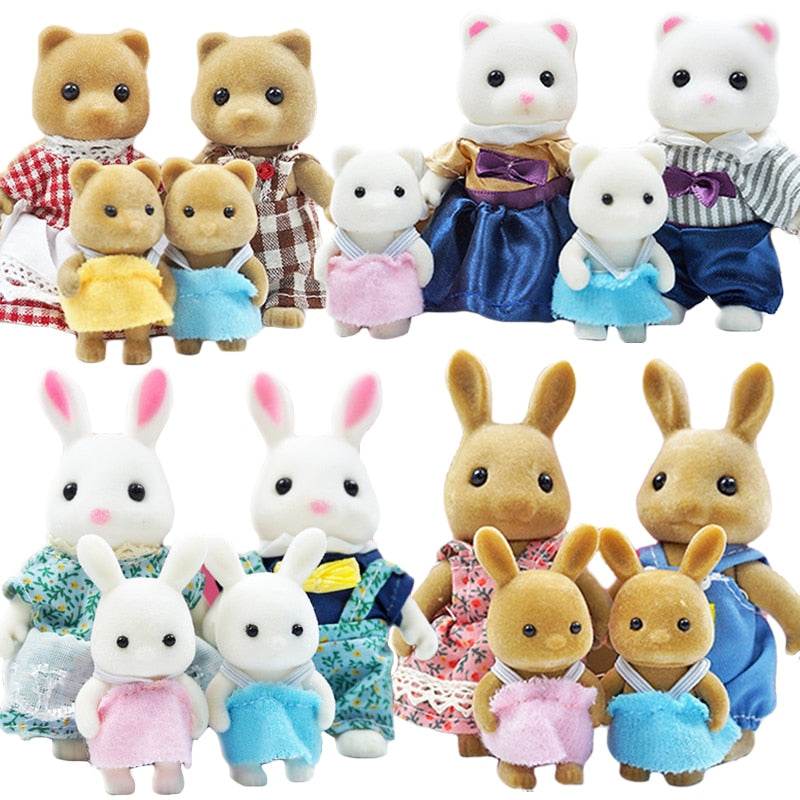 Simulation Forest Rabbit Family Doll Dollhouse Figures Furniture DIY Playset PlayHouse Bedroom Girl Toys Accessories Xmas Gifts