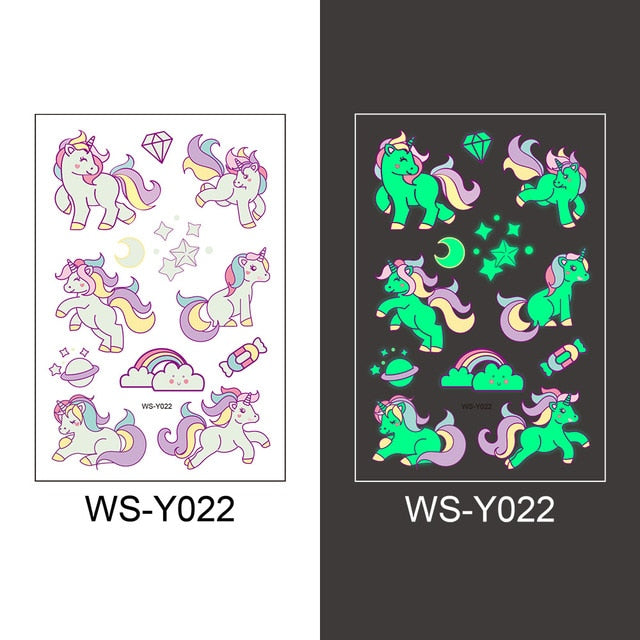 12 kinds Luminous Tattoo Halloween Party Cartoon Pirate Unicorn Temporary Body Sticker Disposable Waterproof tatouage temporaire