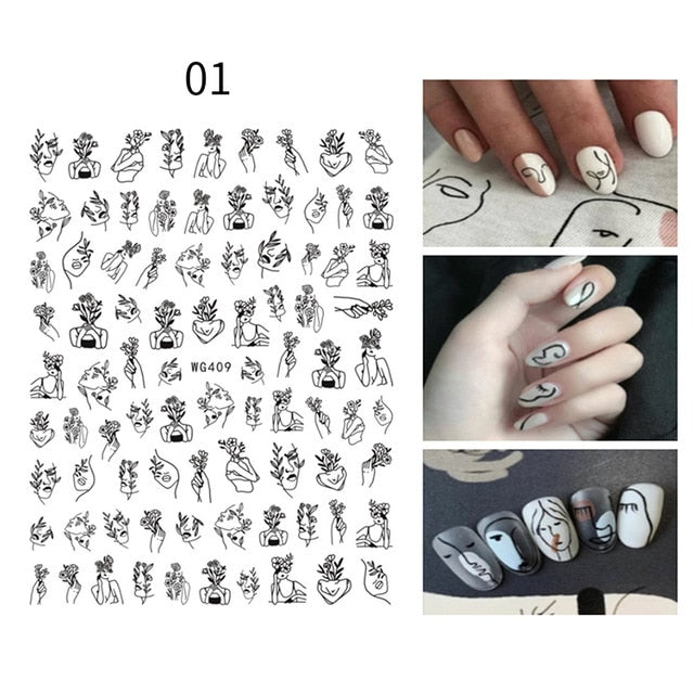 Gold 3D Nail Sticker Curve Stripe Lines Nails Stickers Gradient Adhesive Striping Tape Nail Foil Nail Art Stickers Decals Silver