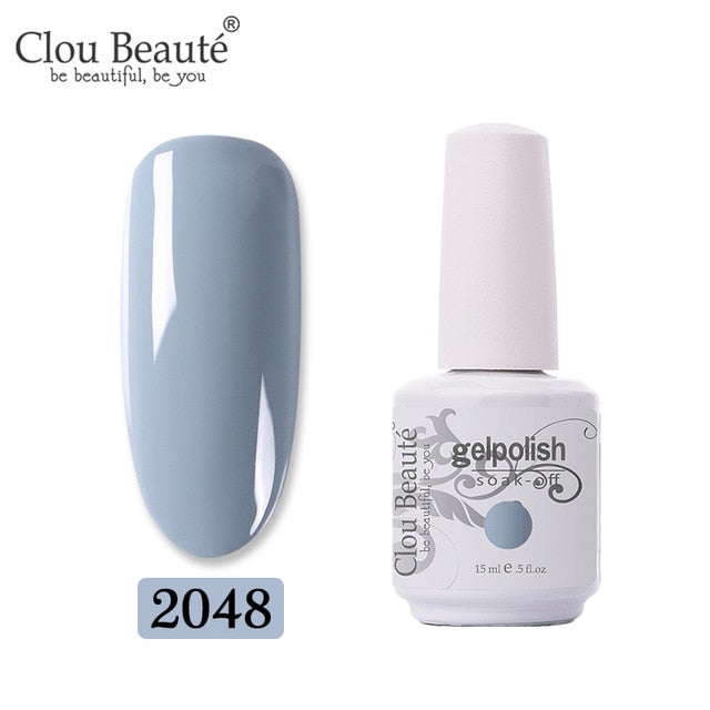 Clou Beaute 64 Colors Gel Nail Polish White Gel UV Nail Matte Base Top Gel Polish Soak Off UV Varnish Gel Paint 15ml Nail Art