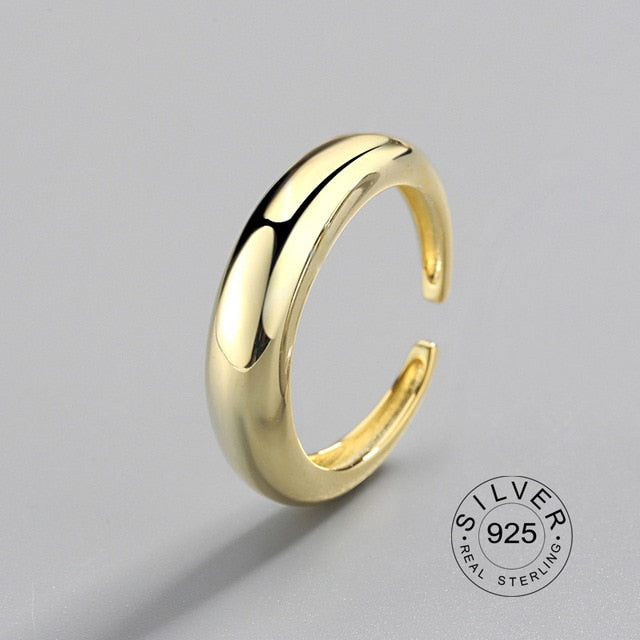 100% 925 Sterling Silver Open Ring for Women INS Minimalist Irregular Wave Pattern Gold Color Jewelry Bijoux Birthday