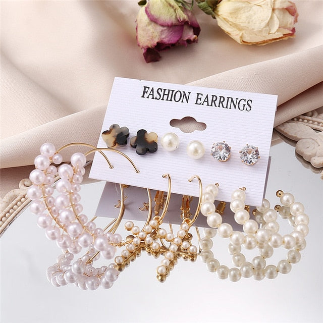 17KM Vintage Pearl Earrings For Women Big Gold Cross Set of Earrings Long Tassel Butterfly Dangle Drop Earrings 2021 Jewelry