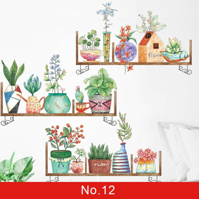 Nordic Green Leaf Weed Wall Sticker for Bedroom Living room Decor 3D Tile Stickers Vinyl Wall Decals wallpaper Home Decoration