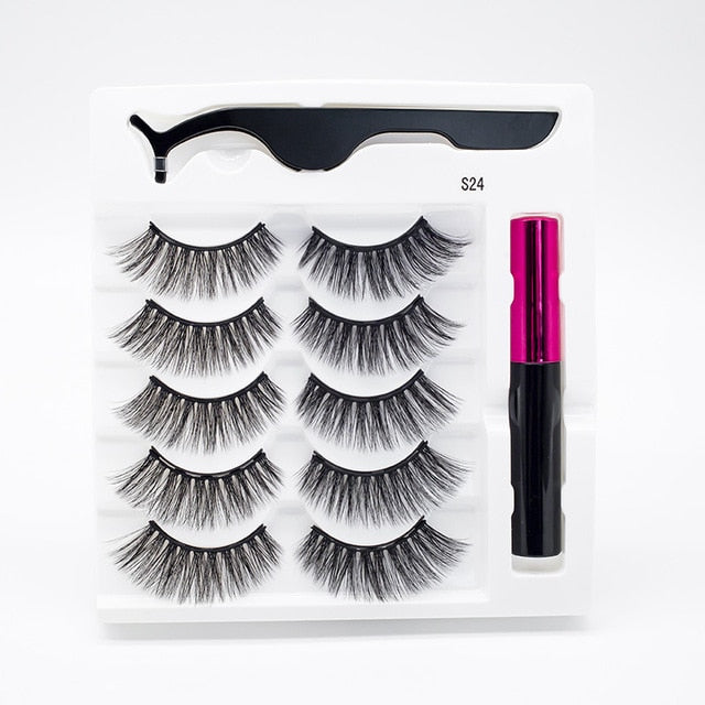 5 Pairs/Set Magnetic Eyelashes False Lashes Repeated Use Eyelashes Waterproof Liquid Eyeliner With Tweezer Makeup Set