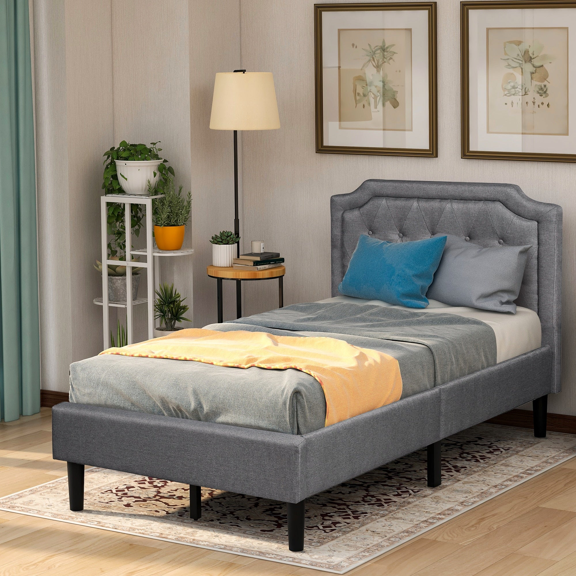 Bed Frame Twin Size Upholstered Linen Platform Bed Gary Bedroom Furniture Ship From USA Warehouse