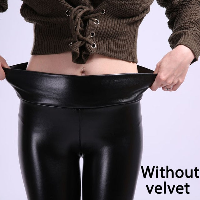 SVOKOR Women Plus Size Winter Leather Pants  High Waist Warm Velvet Pant Trousers Women Thick Stretch Pantalon Femme S-5XL