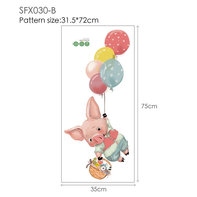 Colorful Balloon Rabbits Bedroom Wall Stickers For Kids Room Decoration Grey Bunny Wall Stickers for children Nursery Wall Decal