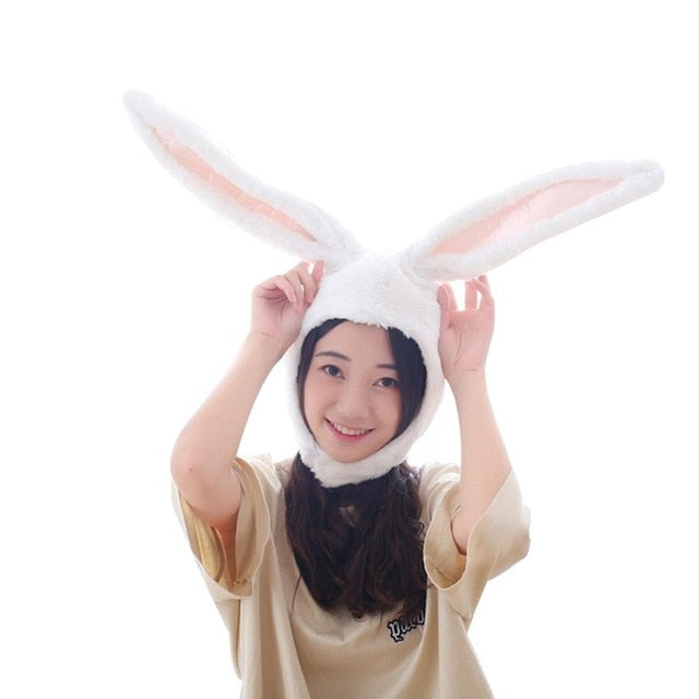 Cute Girls Hat Plush Rabbit Bunny Ears Hat Earflap Cap Head Warmer Photo Supplies Hat with earflaps bunny hat Headgear Hats