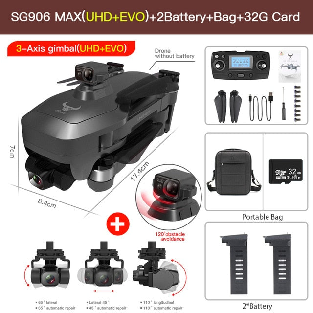 SG906 MAX Pro 2 Pro2 GPS Drone with Wifi 4K Camera Three-Axis Gimbal Brushless Professional Quadcopter Obstacle Avoidance Dron