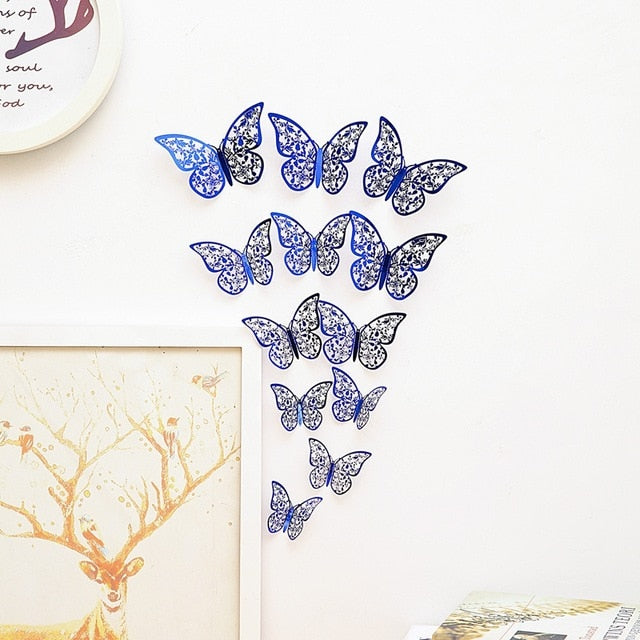 12 Pcs/Set 3D Wall Stickers Hollow Butterfly for Kids Rooms Home Wall Decor DIY Mariposas Fridge stickers Room Decoration