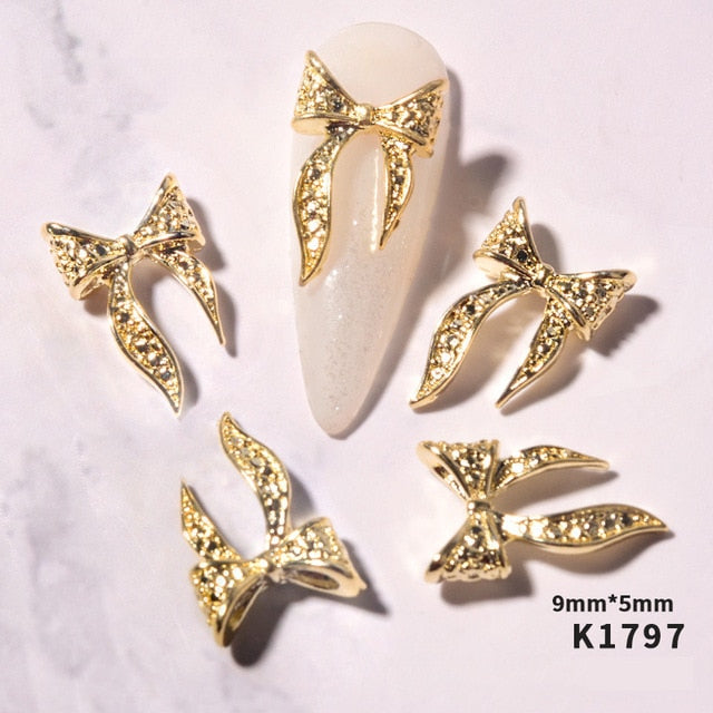20pcs Gold Silver Alloy Bow Nail Art Decorations 3D Charm Bow Ties Nail Jewelry Ornaments Fashion Manicure Accessories For Nails