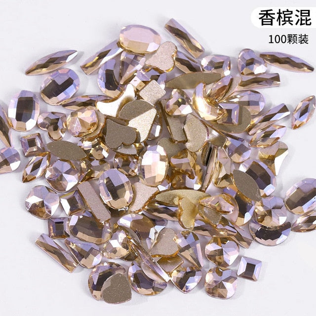 1 Box 100PCS rhinestones for nail art decorations zircon diamond charms gem nail art accessories 3D Nail Art Decorations
