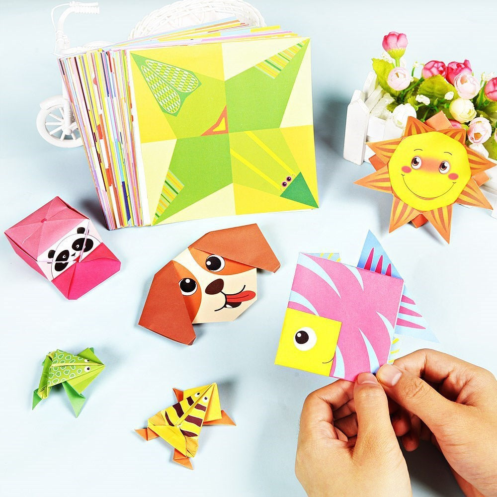 54 Pages Montessori Toys DIY Kids Craft Toy 3D Cartoon Animal Origami Handcraft Paper Art Learning Educational Toys for Children