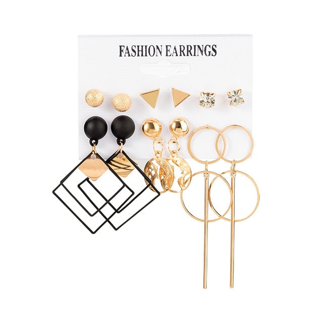New Women's Earrings Set Tassel Pearl Acrylic Earrings For Women Bohemian Fashion Jewelry 2020 Geometric kolczyki Hoop Earings