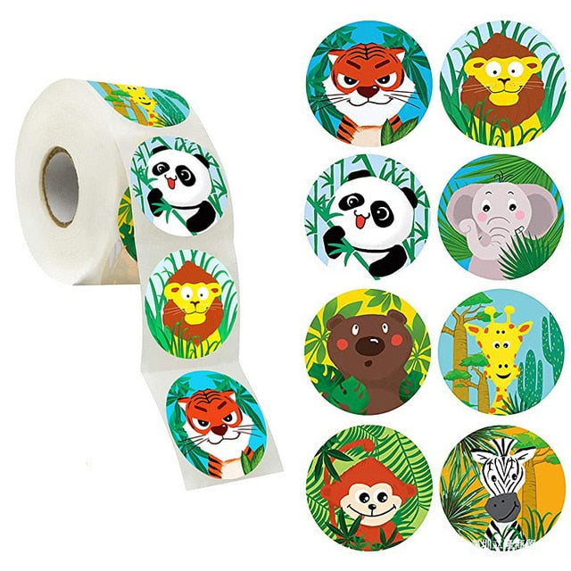 50-500pcs zoo Animals cartoon Stickers for kids classic toys sticker school teacher reward sticker 8 designs pattern tiger