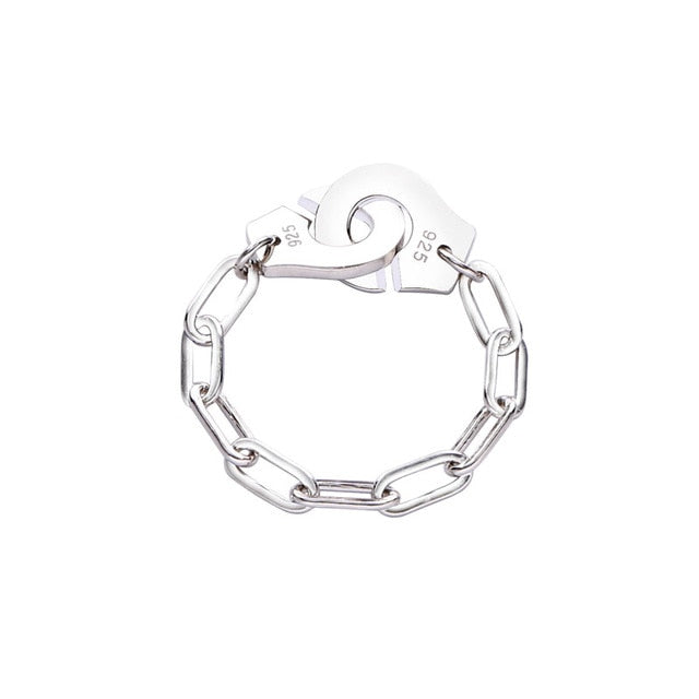 Moonmory Fashion 925 Sterling Silver Handcuff Ring White Paper Clip Chain Menottes Ring Gift For Women And Men Jewelry Dating